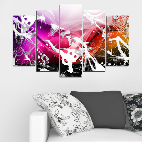 Canvas prints & wall decorative panels - 5 pieces №0348 » Pink, Black, Gray, White » Abstraction, Drawing, Art Form #1