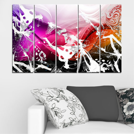 Canvas prints & wall decorative panels - 5 pieces №0348 » Pink, Black, Gray, White » Abstraction, Drawing, Art Form #2