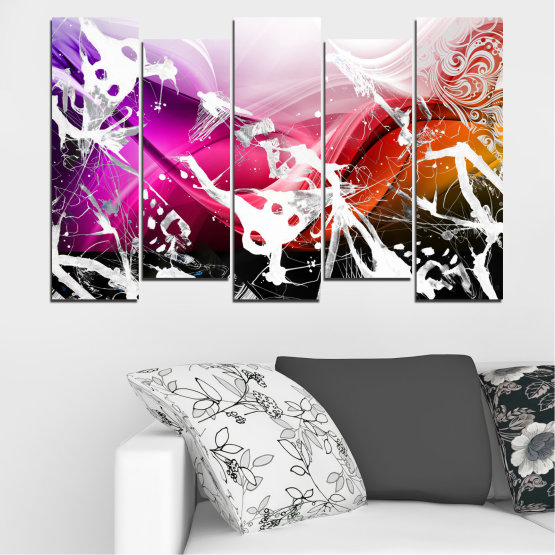 Canvas prints & wall decorative panels - 5 pieces №0348 » Pink, Black, Gray, White » Abstraction, Drawing, Art Form #3