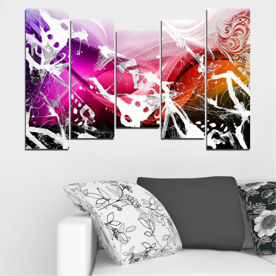 Canvas prints & wall decorative panels - 5 pieces №0348 » Pink, Black, Gray, White » Abstraction, Drawing, Art Form #4