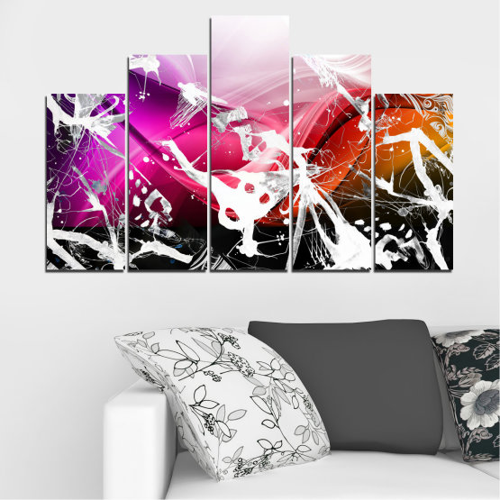 Canvas prints & wall decorative panels - 5 pieces №0348 » Pink, Black, Gray, White » Abstraction, Drawing, Art Form #5