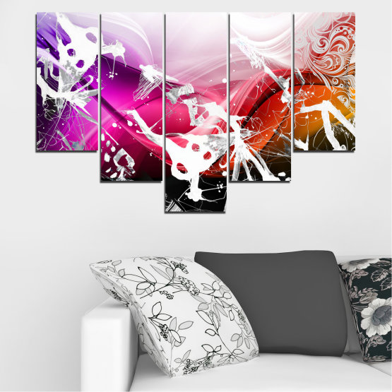 Canvas prints & wall decorative panels - 5 pieces №0348 » Pink, Black, Gray, White » Abstraction, Drawing, Art Form #6