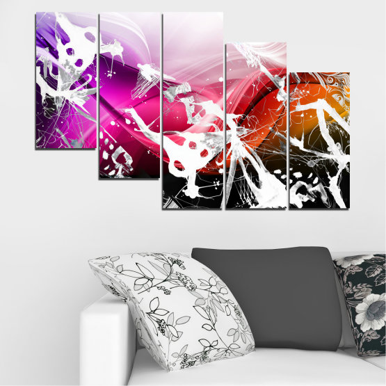 Canvas prints & wall decorative panels - 5 pieces №0348 » Pink, Black, Gray, White » Abstraction, Drawing, Art Form #7