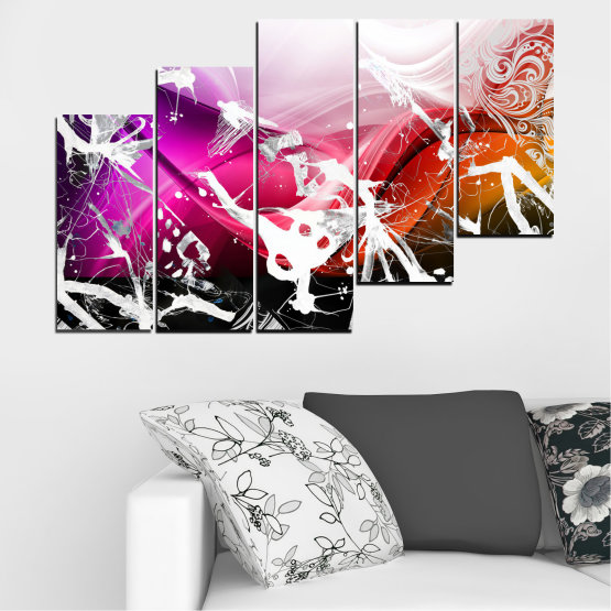 Canvas prints & wall decorative panels - 5 pieces №0348 » Pink, Black, Gray, White » Abstraction, Drawing, Art Form #8