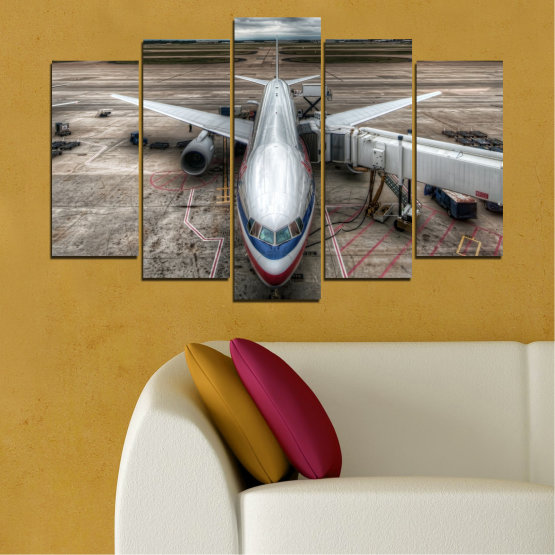 Canvas prints & wall decorative panels - 5 pieces №0349 » Brown, Black, Gray, Dark grey » Vehicle, Plane, Track Form #1