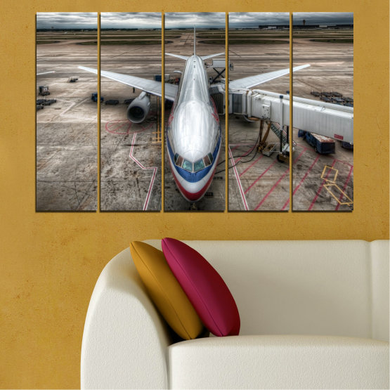 Canvas prints & wall decorative panels - 5 pieces №0349 » Brown, Black, Gray, Dark grey » Vehicle, Plane, Track Form #2