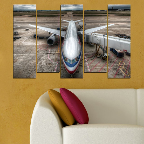Canvas prints & wall decorative panels - 5 pieces №0349 » Brown, Black, Gray, Dark grey » Vehicle, Plane, Track Form #3
