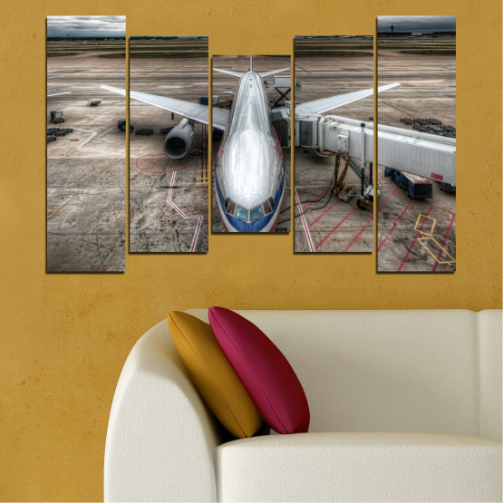Canvas prints & wall decorative panels - 5 pieces №0349 » Brown, Black, Gray, Dark grey » Vehicle, Plane, Track Form #4