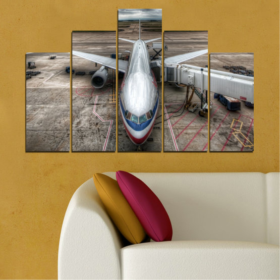 Canvas prints & wall decorative panels - 5 pieces №0349 » Brown, Black, Gray, Dark grey » Vehicle, Plane, Track Form #5