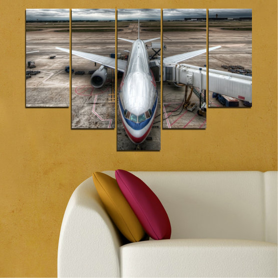 Canvas prints & wall decorative panels - 5 pieces №0349 » Brown, Black, Gray, Dark grey » Vehicle, Plane, Track Form #6