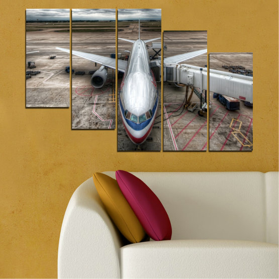 Canvas prints & wall decorative panels - 5 pieces №0349 » Brown, Black, Gray, Dark grey » Vehicle, Plane, Track Form #7