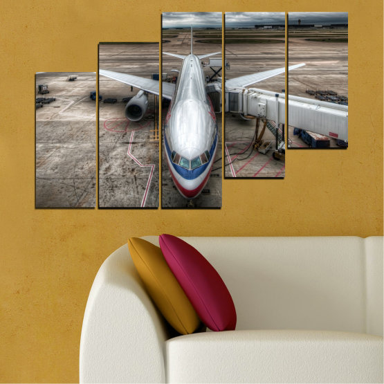 Canvas prints & wall decorative panels - 5 pieces №0349 » Brown, Black, Gray, Dark grey » Vehicle, Plane, Track Form #8