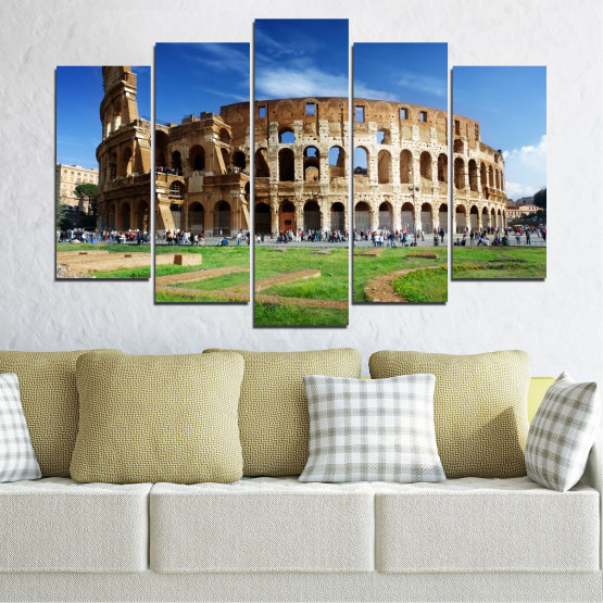Canvas prints & wall decorative panels - 5 pieces №0035 » Blue, Brown, Black, Gray » Landmark, Italy, Capital, Rome, Coliseum Form #1