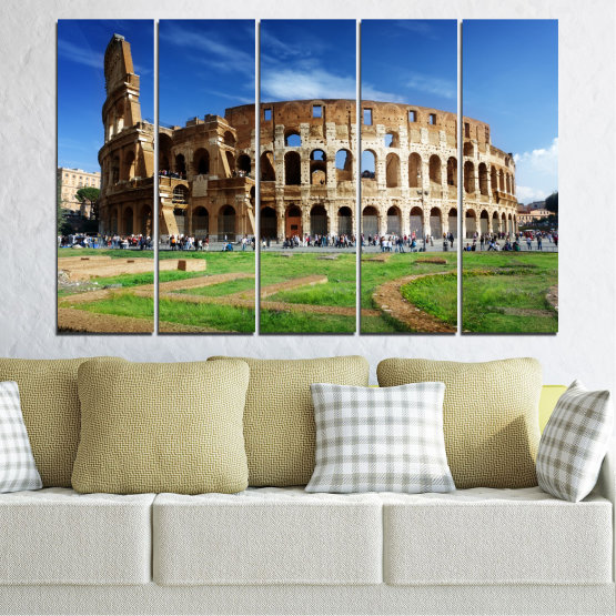 Canvas prints & wall decorative panels - 5 pieces №0035 » Blue, Brown, Black, Gray » Landmark, Italy, Capital, Rome, Coliseum Form #2