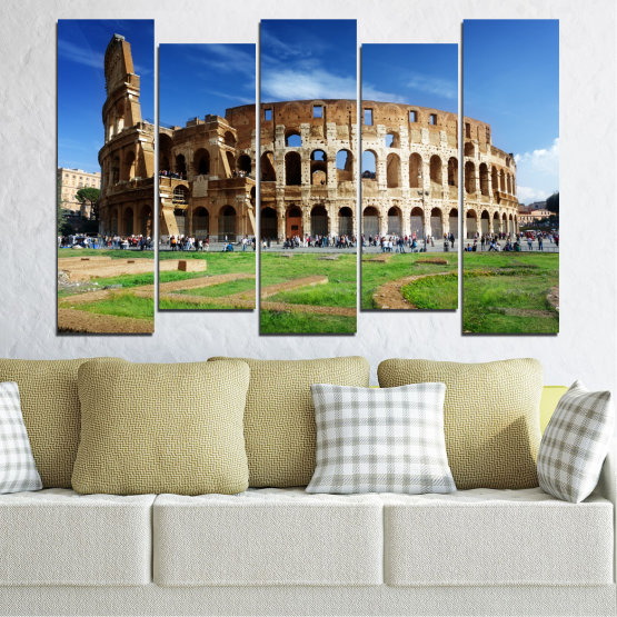 Canvas prints & wall decorative panels - 5 pieces №0035 » Blue, Brown, Black, Gray » Landmark, Italy, Capital, Rome, Coliseum Form #3