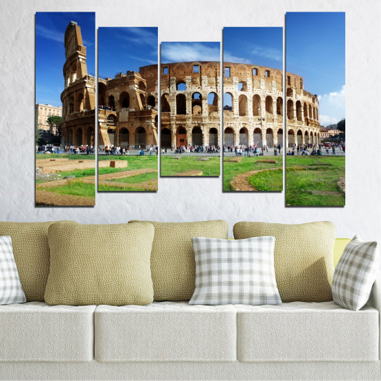 Canvas prints & wall decorative panels - 5 pieces №0035 » Blue, Brown, Black, Gray » Landmark, Italy, Capital, Rome, Coliseum Form #4