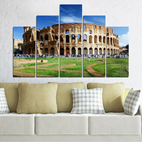 Canvas prints & wall decorative panels - 5 pieces №0035 » Blue, Brown, Black, Gray » Landmark, Italy, Capital, Rome, Coliseum Form #5