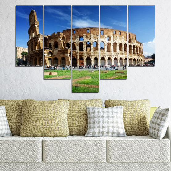 Canvas prints & wall decorative panels - 5 pieces №0035 » Blue, Brown, Black, Gray » Landmark, Italy, Capital, Rome, Coliseum Form #6