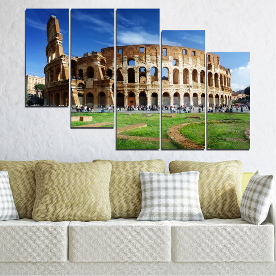 Canvas prints & wall decorative panels - 5 pieces №0035 » Blue, Brown, Black, Gray » Landmark, Italy, Capital, Rome, Coliseum Form #7