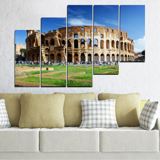 Canvas prints & wall decorative panels - 5 pieces №0035 » Blue, Brown, Black, Gray » Landmark, Italy, Capital, Rome, Coliseum Form #8