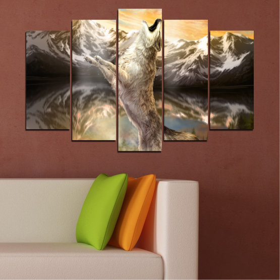 Canvas prints & wall decorative panels - 5 pieces №0350 » Brown, Black, Gray, Beige, Dark grey » Animal, Mountain, Wolf, Snow Form #1