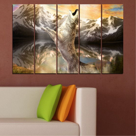 Canvas prints & wall decorative panels - 5 pieces №0350 » Brown, Black, Gray, Beige, Dark grey » Animal, Mountain, Wolf, Snow Form #2