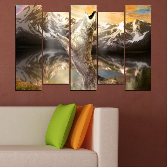 Canvas prints & wall decorative panels - 5 pieces №0350 » Brown, Black, Gray, Beige, Dark grey » Animal, Mountain, Wolf, Snow Form #3