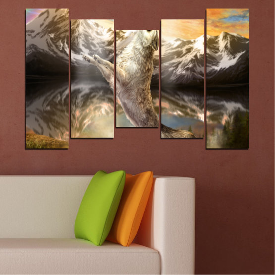 Canvas prints & wall decorative panels - 5 pieces №0350 » Brown, Black, Gray, Beige, Dark grey » Animal, Mountain, Wolf, Snow Form #4