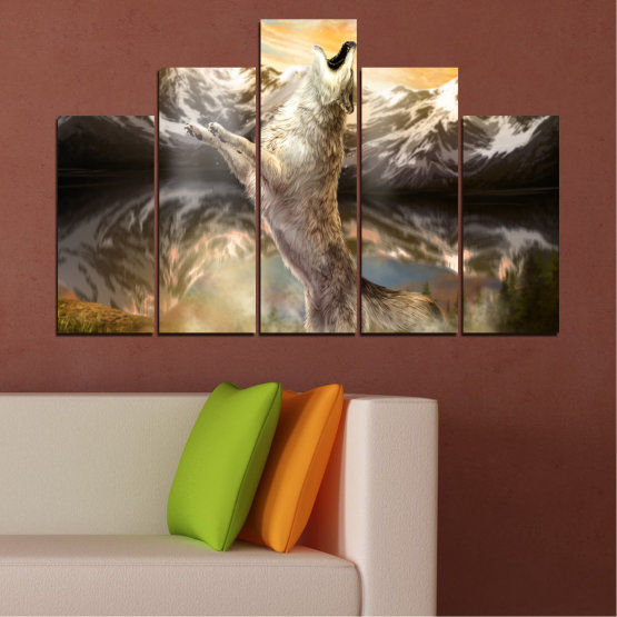 Canvas prints & wall decorative panels - 5 pieces №0350 » Brown, Black, Gray, Beige, Dark grey » Animal, Mountain, Wolf, Snow Form #5