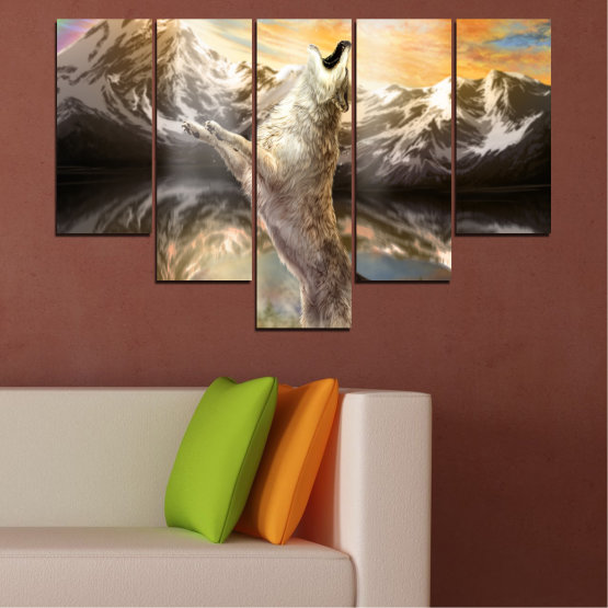 Canvas prints & wall decorative panels - 5 pieces №0350 » Brown, Black, Gray, Beige, Dark grey » Animal, Mountain, Wolf, Snow Form #6