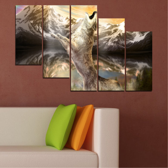 Canvas prints & wall decorative panels - 5 pieces №0350 » Brown, Black, Gray, Beige, Dark grey » Animal, Mountain, Wolf, Snow Form #7
