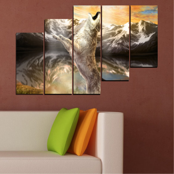 Canvas prints & wall decorative panels - 5 pieces №0350 » Brown, Black, Gray, Beige, Dark grey » Animal, Mountain, Wolf, Snow Form #8