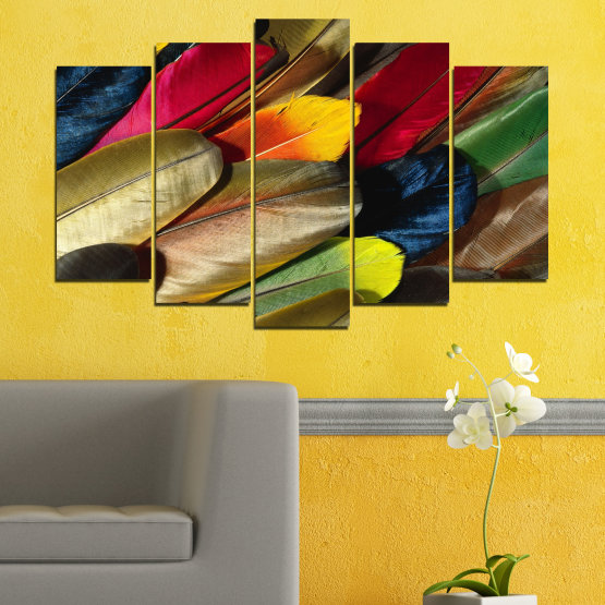Canvas prints & wall decorative panels - 5 pieces №0351 » Red, Brown, Black, Dark grey » Abstraction, Colorful, Feather Form #1