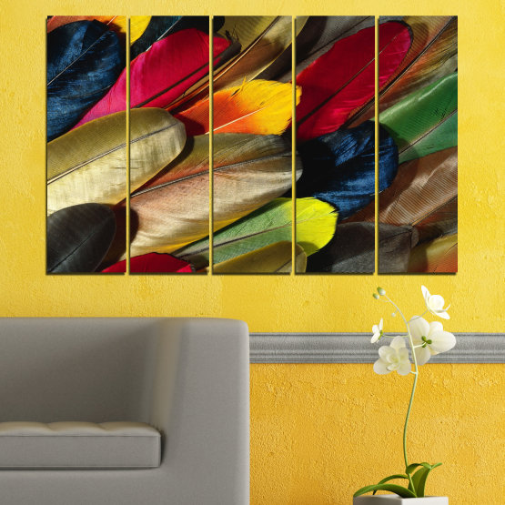 Canvas prints & wall decorative panels - 5 pieces №0351 » Red, Brown, Black, Dark grey » Abstraction, Colorful, Feather Form #2