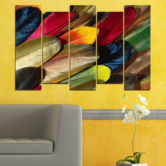Canvas prints & wall decorative panels - 5 pieces №0351 » Red, Brown, Black, Dark grey » Abstraction, Colorful, Feather Form #3