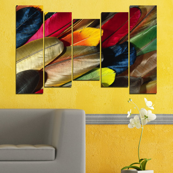 Canvas prints & wall decorative panels - 5 pieces №0351 » Red, Brown, Black, Dark grey » Abstraction, Colorful, Feather Form #4