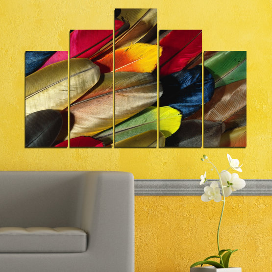 Canvas prints & wall decorative panels - 5 pieces №0351 » Red, Brown, Black, Dark grey » Abstraction, Colorful, Feather Form #5