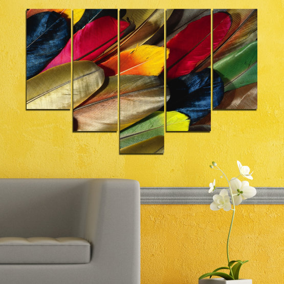 Canvas prints & wall decorative panels - 5 pieces №0351 » Red, Brown, Black, Dark grey » Abstraction, Colorful, Feather Form #6