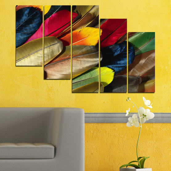 Canvas prints & wall decorative panels - 5 pieces №0351 » Red, Brown, Black, Dark grey » Abstraction, Colorful, Feather Form #7