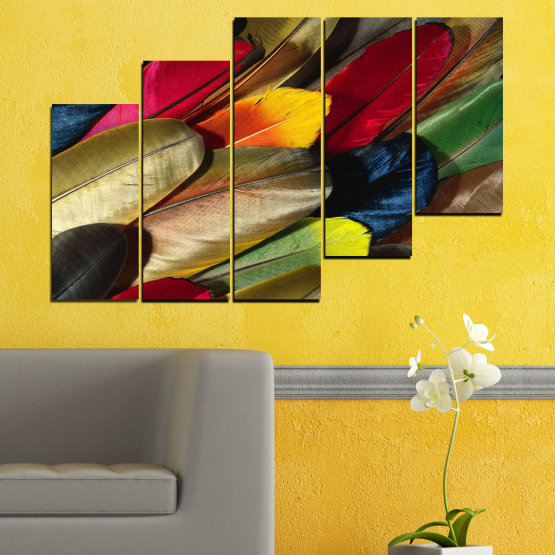 Canvas prints & wall decorative panels - 5 pieces №0351 » Red, Brown, Black, Dark grey » Abstraction, Colorful, Feather Form #8