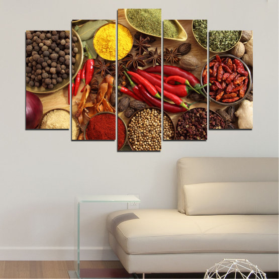 Canvas prints & wall decorative panels - 5 pieces №0352 » Red, Brown, Black, Beige » Culinary, Vegetables, Spices Form #1