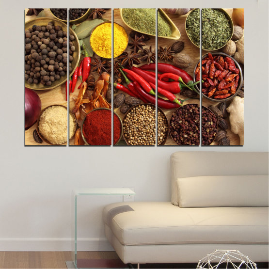 Canvas prints & wall decorative panels - 5 pieces №0352 » Red, Brown, Black, Beige » Culinary, Vegetables, Spices Form #2