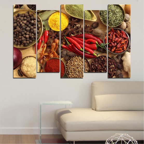 Canvas prints & wall decorative panels - 5 pieces №0352 » Red, Brown, Black, Beige » Culinary, Vegetables, Spices Form #3