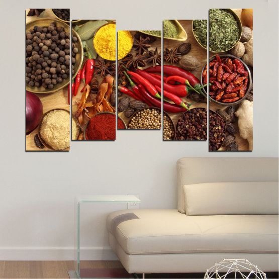 Canvas prints & wall decorative panels - 5 pieces №0352 » Red, Brown, Black, Beige » Culinary, Vegetables, Spices Form #4