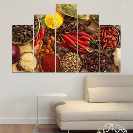 Canvas prints & wall decorative panels - 5 pieces №0352 » Red, Brown, Black, Beige » Culinary, Vegetables, Spices Form #5