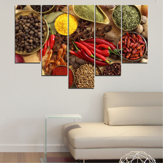 Canvas prints & wall decorative panels - 5 pieces №0352 » Red, Brown, Black, Beige » Culinary, Vegetables, Spices Form #6