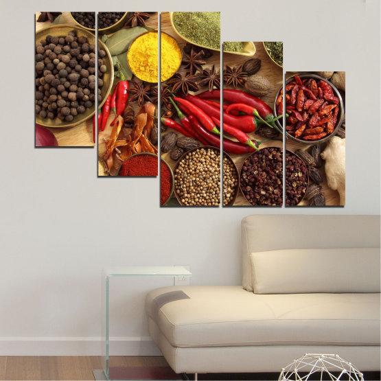 Canvas prints & wall decorative panels - 5 pieces №0352 » Red, Brown, Black, Beige » Culinary, Vegetables, Spices Form #7