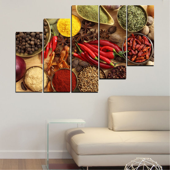 Canvas prints & wall decorative panels - 5 pieces №0352 » Red, Brown, Black, Beige » Culinary, Vegetables, Spices Form #8