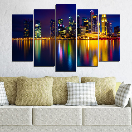 Canvas prints & wall decorative panels - 5 pieces №0353 » Blue, Brown, Black, Dark grey » Water, City, Lights, Night, Аsia, Singapore Form #1
