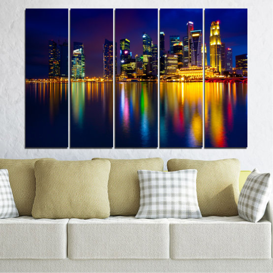 Canvas prints & wall decorative panels - 5 pieces №0353 » Blue, Brown, Black, Dark grey » Water, City, Lights, Night, Аsia, Singapore Form #2